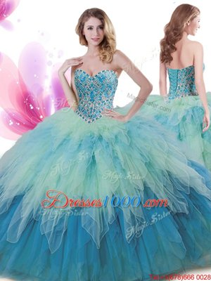 Floor Length Multi-color Vestidos de Quinceanera Tulle Sleeveless Beading and Ruffles