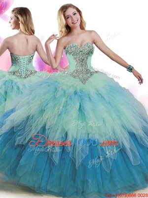 Multi-color 15 Quinceanera Dress Military Ball and Sweet 16 and Quinceanera and For with Beading and Ruffles Sweetheart Sleeveless Lace Up