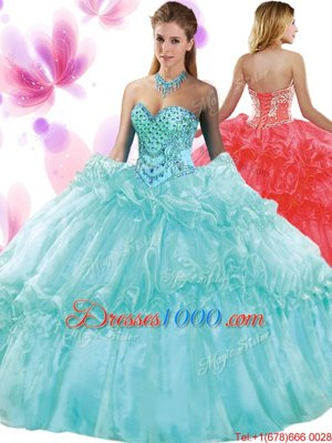 Stunning Aqua Blue Sleeveless Organza Lace Up Quinceanera Gowns for Military Ball and Sweet 16 and Quinceanera