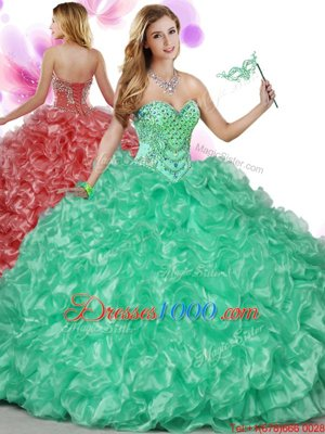 Modest Green Organza Lace Up Quinceanera Gowns Sleeveless Floor Length Beading and Ruffles
