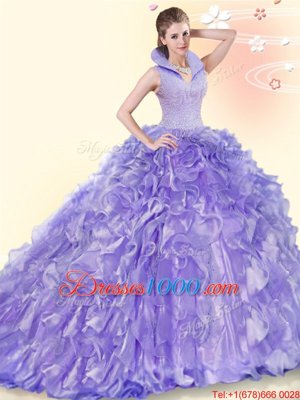 Backless Organza Sleeveless Sweet 16 Quinceanera Dress Brush Train and Beading and Ruffles