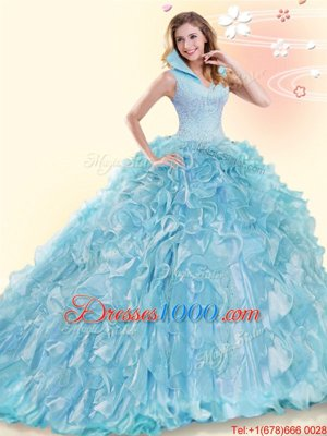 Dramatic Sweetheart Sleeveless Lace Up Quinceanera Dress Multi-color Organza