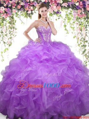 New Arrival Lavender Sleeveless Floor Length Beading and Ruffles Lace Up 15 Quinceanera Dress