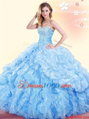 Charming Baby Blue Organza Lace Up Sweetheart Sleeveless Floor Length Sweet 16 Dresses Beading and Ruffles and Pick Ups