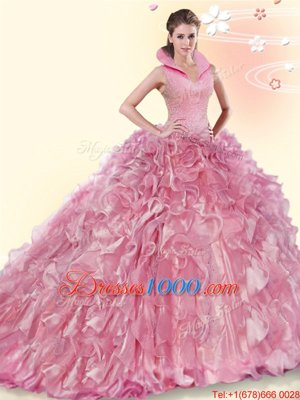 Pink Ball Gowns Organza High-neck Sleeveless Beading and Ruffles Backless Sweet 16 Quinceanera Dress Brush Train