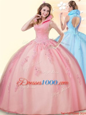 Pink Sleeveless Floor Length Beading and Appliques Backless Quince Ball Gowns