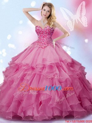Clearance Organza Sleeveless Floor Length Quinceanera Gowns and Beading