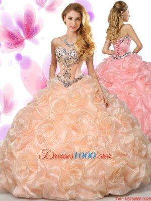 Peach Sweetheart Neckline Beading and Pick Ups Vestidos de Quinceanera Sleeveless Lace Up