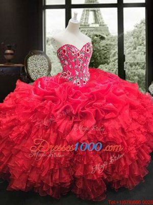 Ball Gowns Quinceanera Gowns Red Sweetheart Organza Sleeveless Floor Length Lace Up