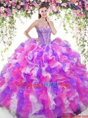 Red And Black Quinceanera Dress Military Ball and Sweet 16 and Quinceanera and For with Beading and Ruffled Layers and Sequins Sweetheart Sleeveless Lace Up
