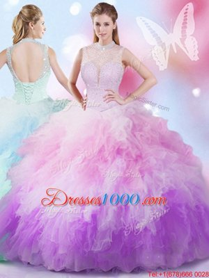 Clearance High-neck Sleeveless Sweet 16 Dresses Floor Length Beading and Ruffles Multi-color Tulle