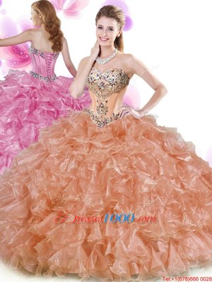 Rust Red and Peach Organza Lace Up Sweetheart Sleeveless Floor Length Quince Ball Gowns Beading and Ruffles