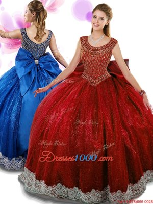 Designer Wine Red Scoop Zipper Beading and Appliques and Bowknot Sweet 16 Dresses Sleeveless