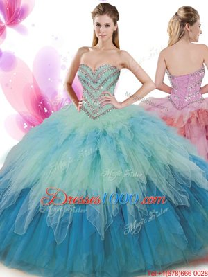 Aqua Blue Sleeveless Floor Length Beading Backless Quince Ball Gowns