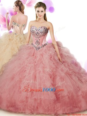 Floor Length Peach Quinceanera Gowns Sweetheart Sleeveless Lace Up
