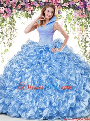 Blue Ball Gowns Organza High-neck Sleeveless Beading and Ruffles Floor Length Backless Vestidos de Quinceanera