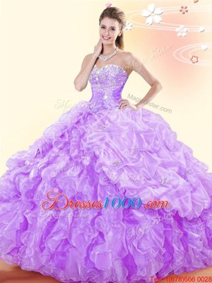 Flirting Lavender Organza Lace Up Sweetheart Sleeveless Floor Length Sweet 16 Dresses Beading and Ruffles and Pick Ups