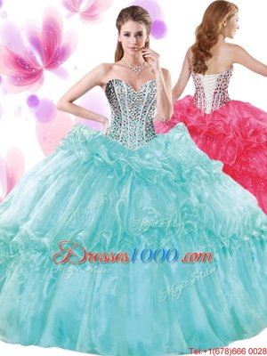Smart Teal Ball Gowns Halter Top Sleeveless Organza and Taffeta Floor Length Lace Up Appliques and Ruffles and Pick Ups Ball Gown Prom Dress