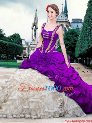 Straps Straps With Train Lace Up 15th Birthday Dress White And Purple and In for Military Ball and Sweet 16 and Quinceanera with Beading and Ruffles and Pick Ups Brush Train