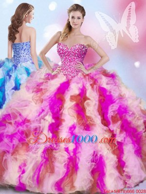 Lace Up Sweet 16 Quinceanera Dress Multi-color and In for Military Ball and Sweet 16 and Quinceanera with Beading and Ruffles