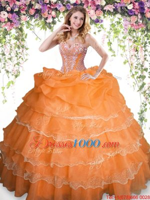 Sweetheart Sleeveless 15th Birthday Dress Floor Length Beading and Ruffled Layers and Pick Ups Orange Organza