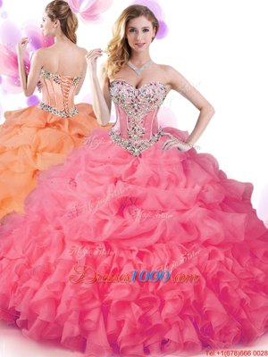 Superior Sleeveless Lace Up Floor Length Beading and Ruffles and Pick Ups 15 Quinceanera Dress