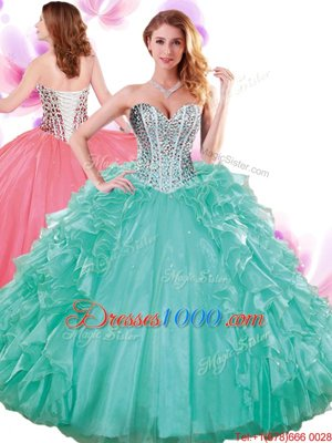 Customized Multi-color Ball Gowns Sweetheart Sleeveless Organza and Taffeta With Brush Train Lace Up Beading and Ruffled Layers and Pick Ups Quinceanera Gown