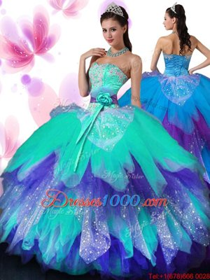 Top Selling Floor Length Multi-color Sweet 16 Quinceanera Dress Tulle Sleeveless Appliques and Ruffled Layers and Hand Made Flower
