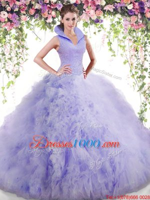 High-neck Sleeveless Backless Quinceanera Dress Lavender Tulle