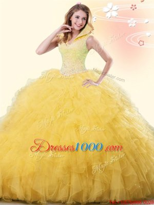 Yellow Ball Gowns Beading and Ruffles Sweet 16 Quinceanera Dress Backless Tulle Sleeveless Floor Length