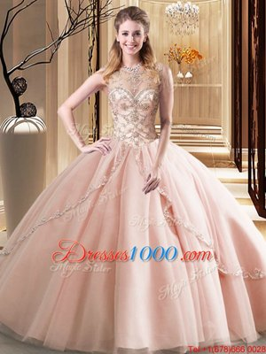 Scoop Ball Gowns Sleeveless Peach Ball Gown Prom Dress Brush Train Lace Up