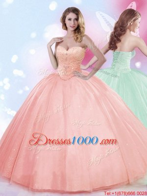 Captivating Tulle Sleeveless Floor Length 15 Quinceanera Dress and Beading