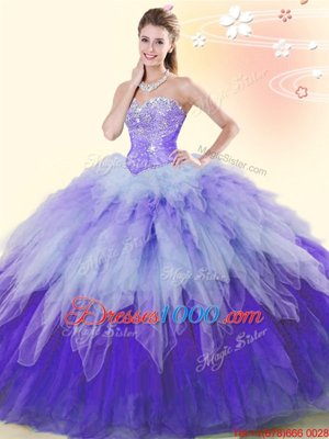 Tulle Sweetheart Sleeveless Lace Up Beading and Ruffles Quinceanera Gown in Multi-color