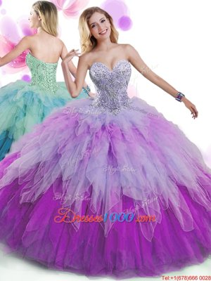 Multi-color 15th Birthday Dress Military Ball and Sweet 16 and Quinceanera and For with Beading and Ruffles Sweetheart Sleeveless Lace Up