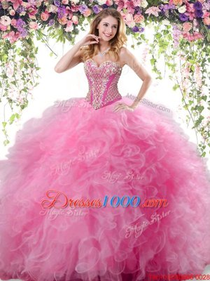 Rose Pink Tulle Lace Up 15th Birthday Dress Sleeveless Floor Length Beading and Ruffles