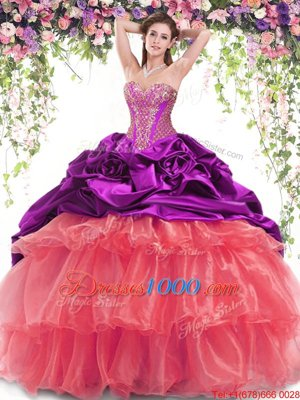 Sumptuous Multi-color Ball Gowns Beading and Ruffled Layers and Pick Ups Sweet 16 Dresses Lace Up Organza and Taffeta Sleeveless With Train