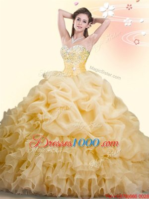 Gold Ball Gowns Beading and Ruffles and Pick Ups Sweet 16 Dress Lace Up Organza Sleeveless With Train