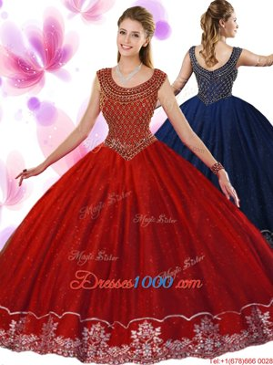 Decent Scoop Floor Length Zipper Quinceanera Dresses Wine Red and In for Military Ball and Sweet 16 and Quinceanera with Beading and Appliques