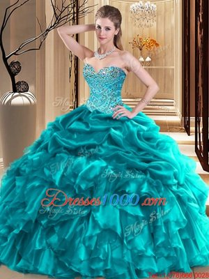 Eye-catching Sleeveless Organza Floor Length Lace Up Sweet 16 Quinceanera Dress in Teal for with Beading and Pick Ups