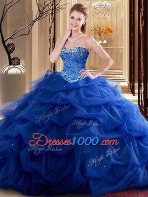 Royal Blue Tulle Lace Up Sweetheart Sleeveless Floor Length Vestidos de Quinceanera Beading