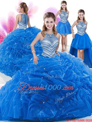 Four Piece Royal Blue Organza Zipper Quinceanera Dresses Sleeveless Floor Length Beading and Pick Ups