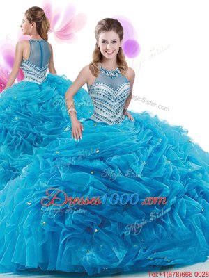 Custom Fit Sleeveless Organza Court Train Zipper 15th Birthday Dress in Baby Blue for with Ruffles