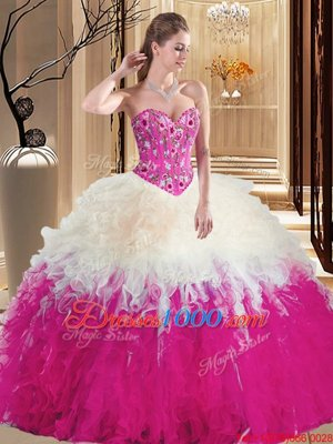 Elegant Multi-color Ball Gowns Sleeveless Tulle Floor Length Lace Up Embroidery and Ruffles Quince Ball Gowns