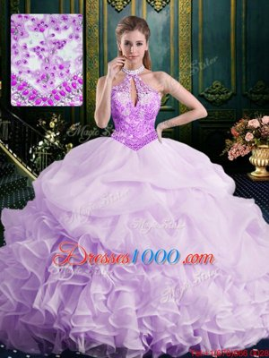 Romantic Halter Top Lavender Sweet 16 Dress Organza Brush Train Sleeveless Beading and Lace and Appliques and Ruffles and Pick Ups