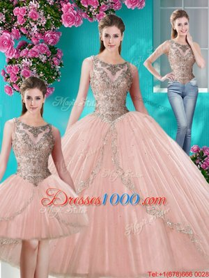 Modern Three Piece Scoop Floor Length Ball Gowns Sleeveless Peach Ball Gown Prom Dress Lace Up