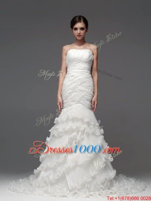 Strapless Sleeveless Lace Up Wedding Gowns White Organza