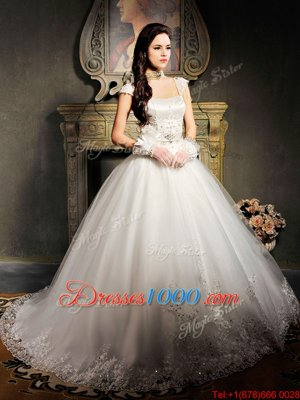 Custom Made White Cap Sleeves Brush Train Beading and Appliques With Train Wedding Dress