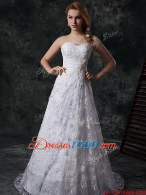 Mermaid Floor Length White Wedding Dresses Sweetheart Sleeveless Brush Train Zipper