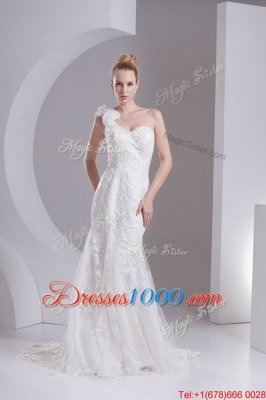 Fitting Strapless Sleeveless Court Train Lace Up Bridal Gown White Lace