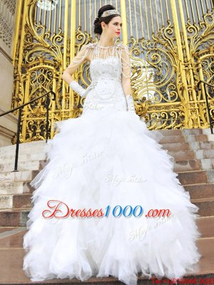 Sleeveless Beading and Ruffles Zipper Wedding Gown